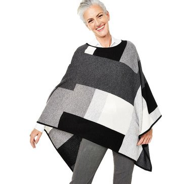 Charter Club Womens Cashmere Colorblock Poncho