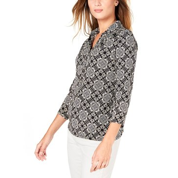 Charter Club Women's 3/4 Sleeve Tile Printed Polo