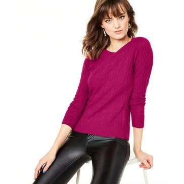 Charter Club Women's Cashmere Cable Crew Sweater