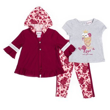 Little Lass Baby Girls' T-Shirt with Leggings & Hooded Cardigan