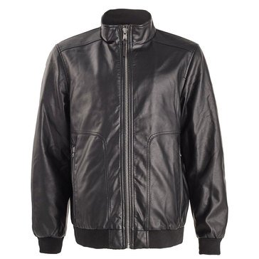 Calvin Klein Men's Faux Leather Washed Bomber Jacket