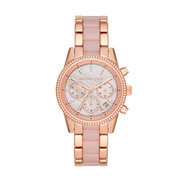 Michael Kors Women's Ritz Rosegold Heart Bracelet Watch, 37mm