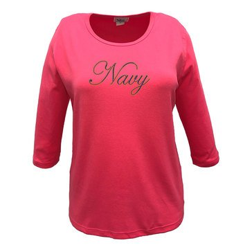 Nitro USA Women's  Rhinestone 3/4 Sleeve Top