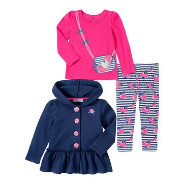 Kids Headquarters Baby Girls' Floral Purse Fleece Jacket Legging 3-Piece Set