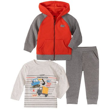 Kids Headquarters Baby Boys' Under Construction Front Zip Raglan Hoodie Jogger 3-Piece Set