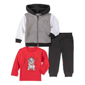 Kids Headquarters Baby Boys' Football Play Dog Zip Front Fleece Hoodie Jogger 3-Piece Set