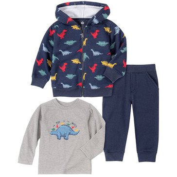 Kids Headquarters Baby Boys' Dino Print Zip Front Fleece Hoodie Jogger 3-Piece Set