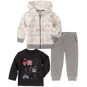 Kids Headquarters Baby Boys' Vehicle Print Zip Front Fleece Hoodie Jogger 3-Piece Set