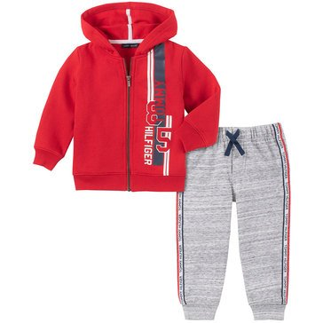 Tommy Hilfiger Baby Boys' Solid Fleece Hoodie 2-Piece Jogger Set