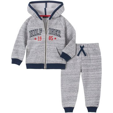 Tommy Hilfiger Baby Boys' Marled Fleece Hoodie 2-Piece Jogger Set