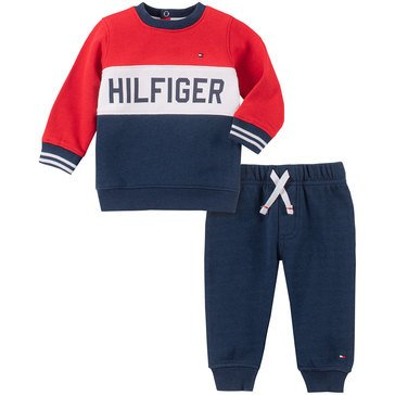 Tommy Hilfiger Baby Boys' Solid Colorblock 2-Piece Jogger Set