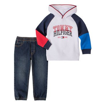 Tommy Hilfiger Baby Boys' Hoodie Fleece Denim Jogger Set