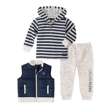Calvin Klein Baby Boys' 3-Piece Quilted Vest Set