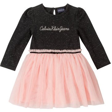 Calvin Klein Baby Girls' Jersey With Metallic Mesh Bottom Dress