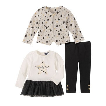 Calvin Klein Baby Girls' 3-Piece Mixed Media Star Jacket Set