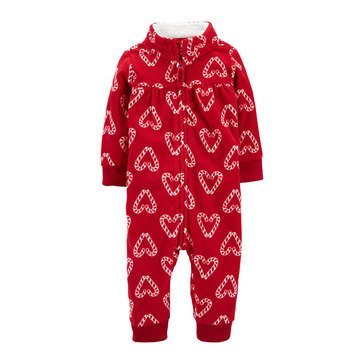 Carters Baby Girls' Heart Candy Canes Hooded Fleece 1-Piece Jumpsuit