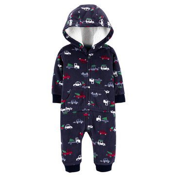 Carters Baby Boys' Cars Hooded Fleece 1-Piece Jumpsuit
