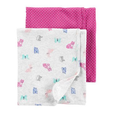 Carters Baby Girls' Multi Animal Flannel Swaddle Set, 2 Pack