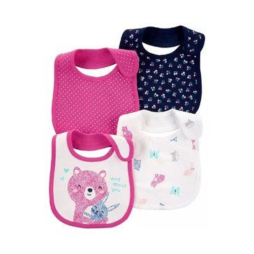 Carters Baby Girls' 4 Pack Multi Animal Bib Set