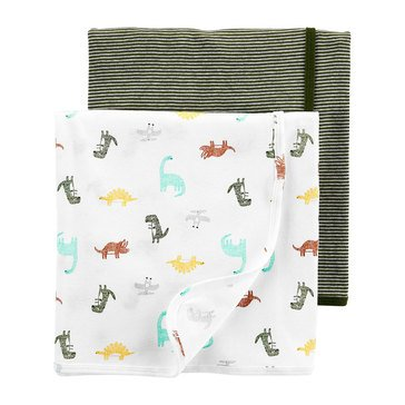 Carters Baby Boys' Dino Flannel Swaddle Set, 2 Pack