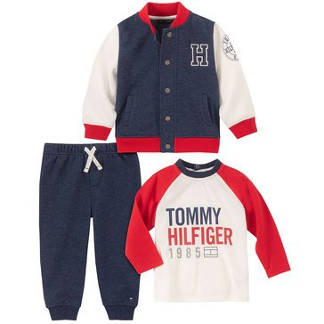 Tommy Hilfiger Baby Boys' Varsity Jacket 3-Piece Set
