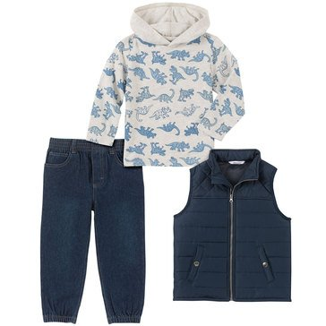 Kids Headquarters Baby Boys Dino Print Hoodie Quilted Vest 3-Piece Set
