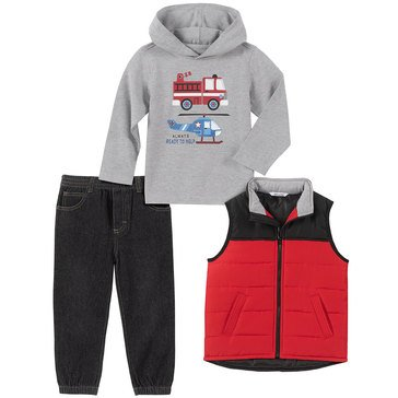 Kids Headquarters Baby Boys Always Ready To Help Hoodie Quilted Vest 3-Piece Set