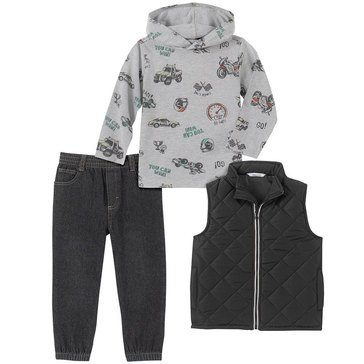 Kids Headquarters Baby Boys Motorcycle Print Hoodie Quilted Vest 3-Piece Set