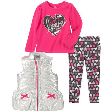 Kids Headquarters Baby Girls' Heart Silver Microfiber Puffer Vest 3-Piece Set