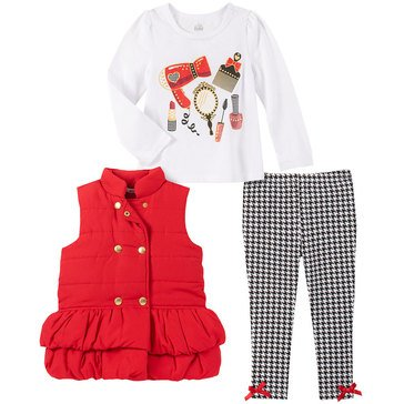 Kids Headquarters Baby Girls 3 Piece Ruffle Front Solid Microfiber Puffer Vest Set