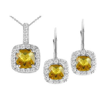 Created Citrine and White Topaz 2-Piece Earring and Pendant Set, Sterling Silver