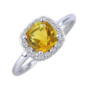 Created Citrine and White Topaz Ring, Sterling Silver