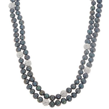 Imperial Pearl Black Freshwater Cultured Pearl and Crystal Necklace