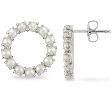 Imperial Pearl Freshwater Cultured Pearl Circle Earrings, Sterling Silver