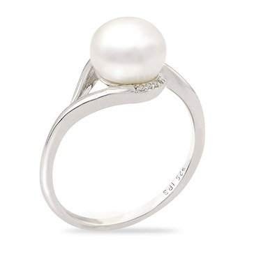 Imperial Pearl Freshwater Cultured Pearl and White Topaz Ring, Sterling Silver