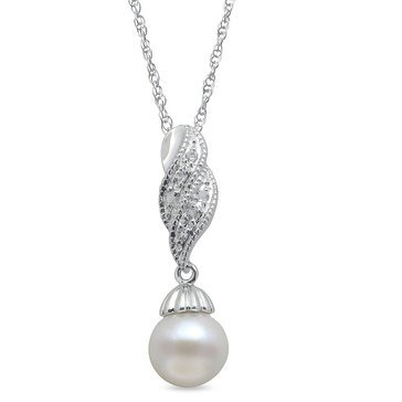 Imperial Pearl Freshwater Cultured and White Topaz Pendant, Sterling Silver