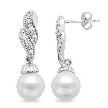Imperial Pearl Freshwater Cultured Pearl and White Topaz Earrings, Sterling Silver