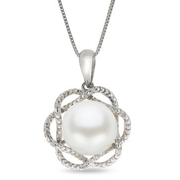 Imperial Pearl Freshwater Cultured Pearl and Diamond Accent Pendant, Sterling Silver