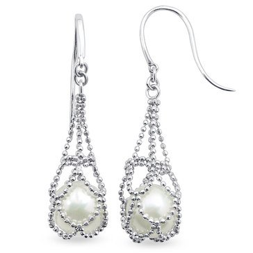 Imperial Pearl Imperial Lace Diamond Cut Bead Chain with Freshwater Cultured Pearl Drop Earrings, Sterling Silver
