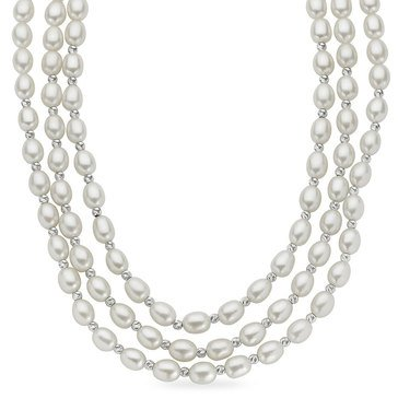 Imperial Pearl Triple Row Brilliance Freshwater Cultured Pearl Necklace, Sterling Silver