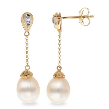 Imperial Pearl Freshwater Cultured Pearl and Diamond Accent Drop Earrings, 10K
