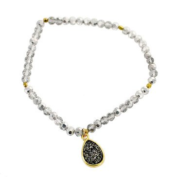 Panacea Bead And Drusy Charm Stretch Bracelet