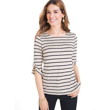 Chico's Women's Stripe Ruffle Sleeve Knit Top