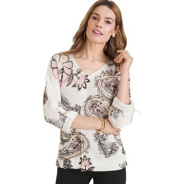 Chico's Women's Print V-Neck Sweater