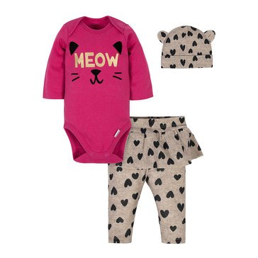Gerber 3-Piece Baby Girls' Bodysuit, Pant, & Cap Set