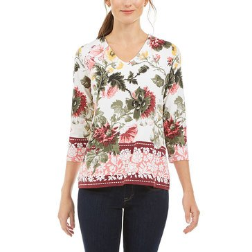 Charter Club Women's Garden Floral Knit Top