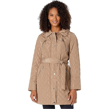 Michael Kors Women's Long Quilted Jacket with Hood