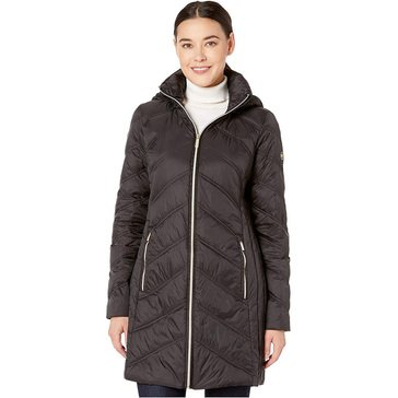 Michael Kors Women's Packable Down Channel WLKR Quilted Jacket with Hood