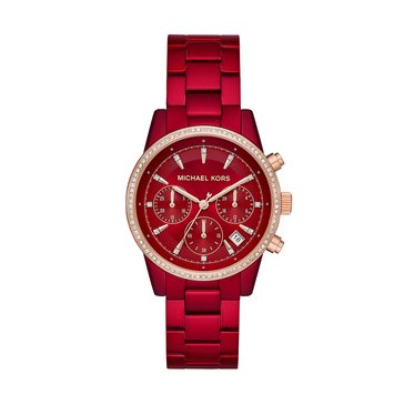 Michael Kors Women's Ritz Chronograph Red Stainless Steel Watch, 45mm