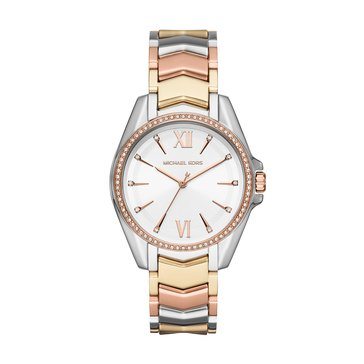 Michael Kors Women's Whitney Three-Hand Tri-Tone Stainless Steel Watch, 38mm